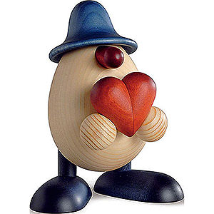 Small Figures & Ornaments Björn Köhler Eggheads small Egghead Hanno with Heart, Blue - 11 cm / 4.3 inch