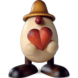 Small Figures & Ornaments Björn Köhler Eggheads small Egghead Hanno with Heart, Brown - 11 cm / 4.3 inch