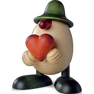Small Figures & Ornaments Björn Köhler Eggheads small Egghead Hanno with Heart, Green - 11 cm / 4.3 inch