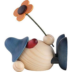 Gift Ideas Easter Egghead Oskar with Flower Lying Down, Blue - 11 cm / 4.3 inch
