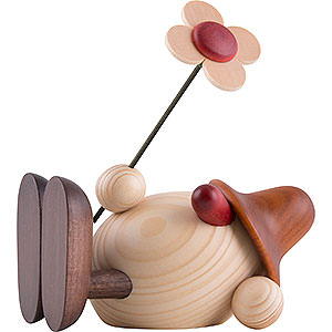 Gift Ideas Easter Egghead Oskar with Flower Lying Down, Brown - 11 cm / 4.3 inch
