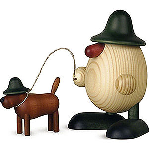 Small Figures & Ornaments Björn Köhler Eggheads small Egghead Rudi with Dog Waldi, Green - 11 cm / 4.3 inch