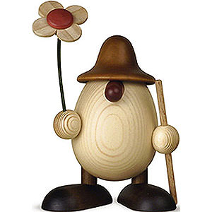 Small Figures & Ornaments Björn Köhler Eggheads small Egghead Rudi with Flower and Stick, Brown - 11 cm / 4.3 inch