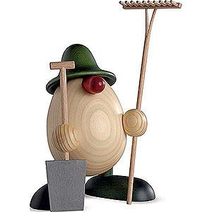 Kleine Figuren & Miniaturen Björn Köhler Eierköpfe klein Eierkopf Benno, Gärtner, grün - 11 cm