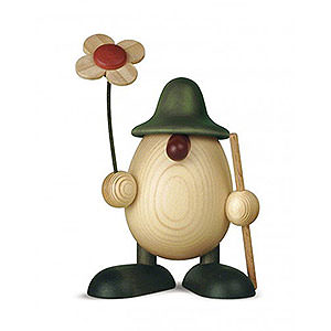 Kleine Figuren & Miniaturen Björn Köhler Eierköpfe klein Eierkopf Rudi mit Blume und Stock, grün - 11 cm