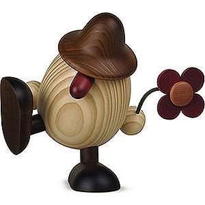 Kleine Figuren & Miniaturen Björn Köhler Eierköpfe groß Eierkopf Vater Anton mit Blume sitzend/tanzend, braun - 15 cm