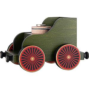 Räuchermänner Räucherfahrzeuge Eisenbahnwagen grün - 19x12x13 cm