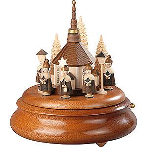 Spieldosen Alle Spieldosen Elektronische Spieldose - Kurrende mit Seiffener Kirche natur - 19 cm