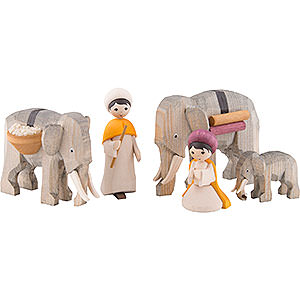 Small Figures & Ornaments ULMIK Nativity Elephant Herders, Set of Five, Glazed - 7 cm / 2.8 inch