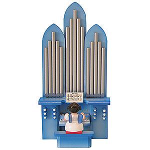 Weihnachtsengel Engel - blaue Flügel - klein Engel an der Orgel mit Spielwerk
