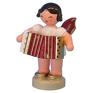 Weihnachtsengel Engel - rote Flügel - klein Engel mit Akkordeon - Rote Flügel - stehend - 6 cm