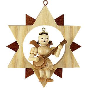Weihnachtsengel Blank Neuheiten 2017 Engel mit Banjo im Stern, natur - 9 cm
