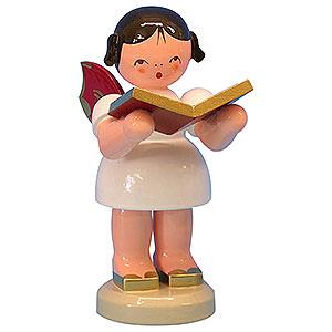 Weihnachtsengel Engel - rote Flügel - groß Engel mit Buch - Rote Flügel - stehend - 9,5 cm
