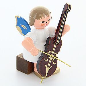 Weihnachtsengel Engel - blaue Flügel - klein Engel mit Cello - Blaue Flügel - sitzend - 5 cm