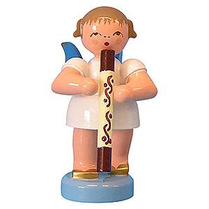 Weihnachtsengel Engel - blaue Flügel - klein Engel mit Didgeridoo - Blaue Flügel - stehend - 6 cm