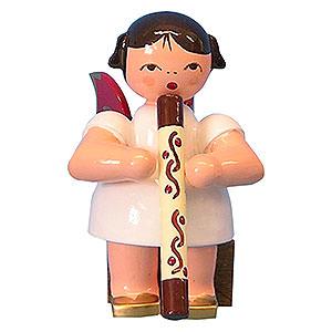 Weihnachtsengel Engel - rote Flügel - klein Engel mit Didgeridoo - Rote Flügel - sitzend - 5 cm