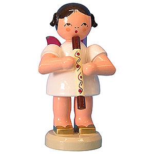 Weihnachtsengel Engel - rote Flügel - groß Engel mit Didgeridoo - Rote Flügel - stehend - 9,5 cm