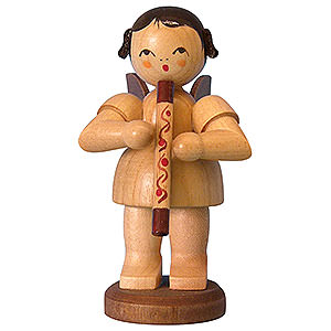 Weihnachtsengel Engel - natur - groß Engel mit Didgeridoo - natur - stehend - 9,5 cm