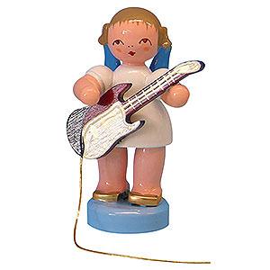 Weihnachtsengel Engel - blaue Flügel - klein Engel mit E-Gitarre - Blaue Flügel - stehend - 6 cm