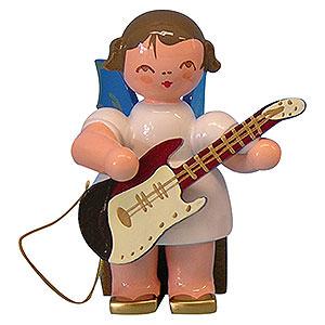Weihnachtsengel Engel - blaue Flügel - klein Engel mit E-Gitarre - Blaue Flügel - sitzend - 5 cm