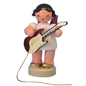 Weihnachtsengel Engel - rote Flügel - klein Engel mit E-Gitarre - Rote Flügel - stehend - 6 cm