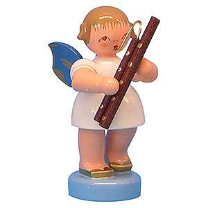 Weihnachtsengel Engel - blaue Flügel - klein Engel mit Fagott - Blaue Flügel - stehend - 6 cm
