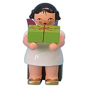 Weihnachtsengel Sonstige Engel Engel mit Geschenk - Rote Flügel - sitzend - 6 cm