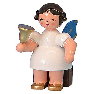 Weihnachtsengel Sonstige Engel Engel mit Glocke - Blaue Flügel - sitzend - 6 cm
