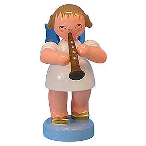 Weihnachtsengel Engel - blaue Flügel - klein Engel mit Klarinette - Blaue Flügel - stehend - 6 cm