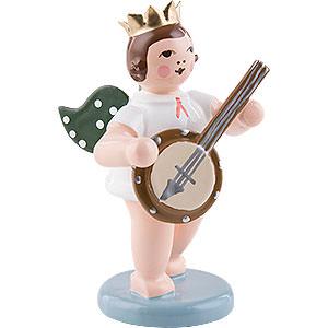 Weihnachtsengel Orchester mit Krone (Ellmann) Engel mit Krone und Banjo - 6,5 cm