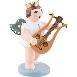 Weihnachtsengel Orchester mit Krone (Ellmann) Engel mit Krone und Lyragitarre - 6,5 cm
