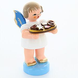 Weihnachtsengel Engel - blaue Flügel - klein Engel mit Lebkuchenblech - Blaue Flügel - stehend - 6 cm