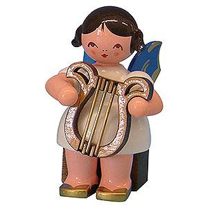 Weihnachtsengel Engel - blaue Flügel - klein Engel mit Leier - Blaue Flügel - sitzend - 5 cm