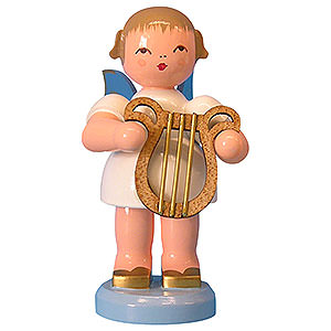 Weihnachtsengel Engel - blaue Flügel - groß Engel mit Leier - Blaue Flügel - stehend - 9,5 cm