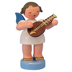 Weihnachtsengel Engel - blaue Flügel - klein Engel mit Mandoline - Blaue Flügel - stehend - 6 cm