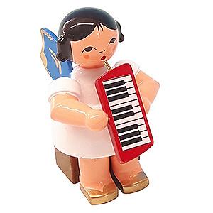 Weihnachtsengel Engel - blaue Flügel - klein Engel mit Melodica - Blaue Flügel - sitzend - 5 cm