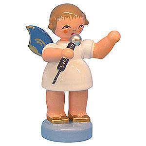 Weihnachtsengel Engel - blaue Flügel - klein Engel mit Mikrofon - Blaue Flügel - stehend - 6 cm