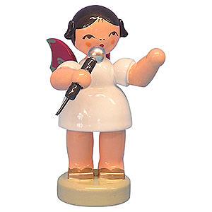 Weihnachtsengel Engel - rote Flügel - klein Engel mit Mikrofon - Rote Flügel - stehend - 6 cm