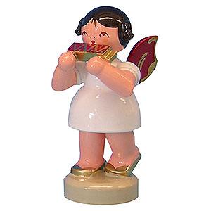 Weihnachtsengel Engel - rote Flügel - klein Engel mit Mundharmonika - Rote Flügel - stehend - 6 cm