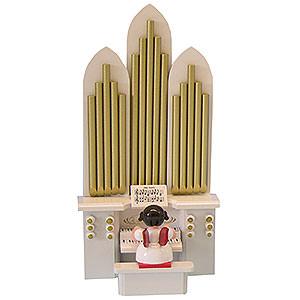Weihnachtsengel Engel - rote Flügel - klein Engel mit Orgel - Rote Flügel - stehend - 6 cm