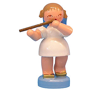 Weihnachtsengel Engel - blaue Flügel - klein Engel mit Querflöte - Blaue Flügel - stehend - 6 cm