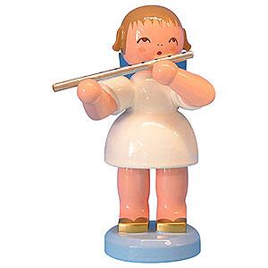 Weihnachtsengel Engel - blaue Flügel - groß Engel mit Querflöte - Blaue Flügel - stehend - 9,5 cm