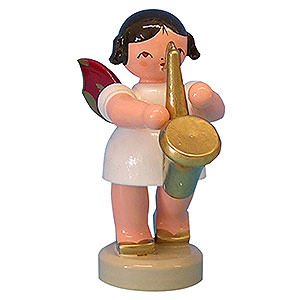 Weihnachtsengel Engel - rote Flügel - klein Engel mit Saxophon - Rote Flügel - stehend - 6 cm