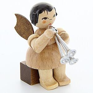 Weihnachtsengel Engel - natur - klein Engel mit Schalmei - natur - sitzend - 5 cm
