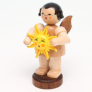 Weihnachtsengel Engel - natur - klein Engel mit Sonne - natur - stehend - 6 cm