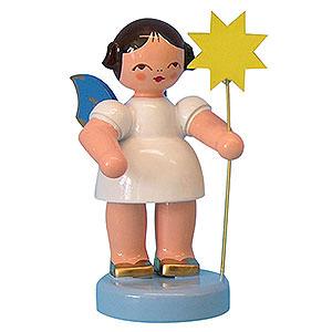 Weihnachtsengel Sonstige Engel Engel mit Stern - Blaue Flügel - stehend - 6 cm