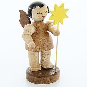 Weihnachtsengel Engel - natur - klein Engel mit Stern - natur - stehend - 6 cm