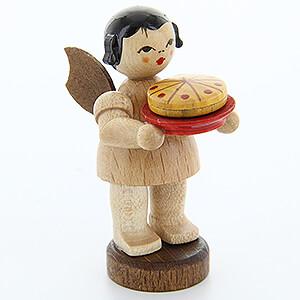 Weihnachtsengel Engel - natur - klein Engel mit Torte - natur - stehend - 6 cm