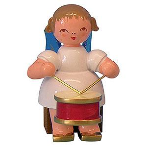 Weihnachtsengel Engel - blaue Flügel - klein Engel mit Trommel - Blaue Flügel - sitzend - 5 cm