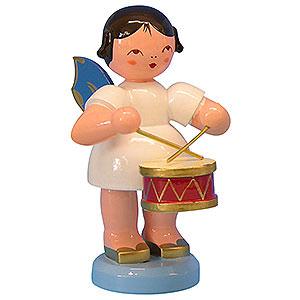 Weihnachtsengel Engel - blaue Flügel - groß Engel mit Trommel - Blaue Flügel - stehend - 9,5 cm